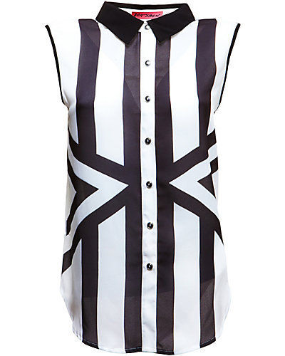 STRIPED SLEEVELESS BLOUSE BLACK