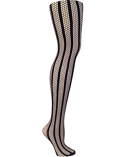 STRIPEY FISHNET TIGHT BLACK