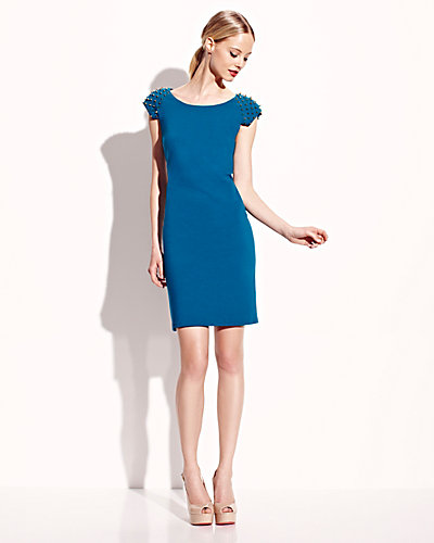 STUD SHOULDER CAP SLEEVE DRESS TEAL