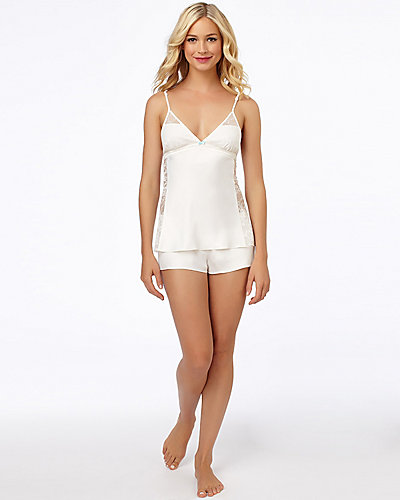 SULTRY SATIN FLYAWAY CAMI TAP SET WHITE