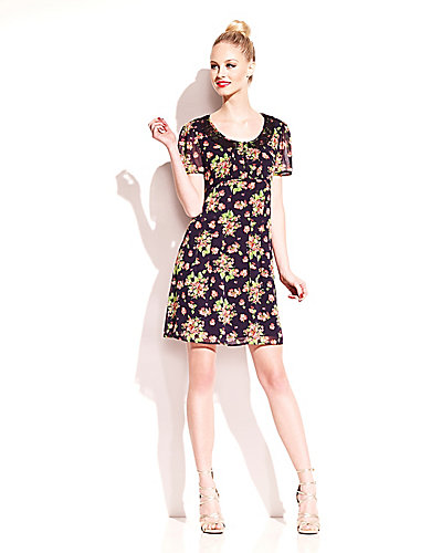 SWEET FLORAL SHORT SLEEVE DRESS MULTI