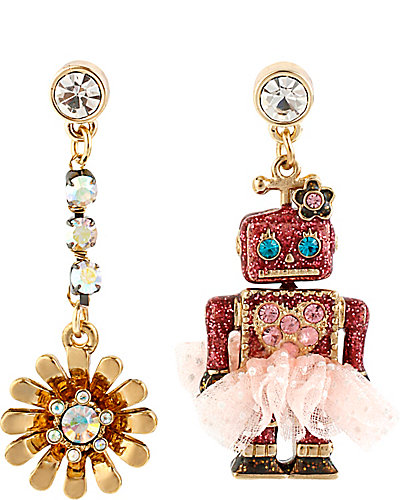 TERRIFIC TUTU ROBOT EARRING PINK