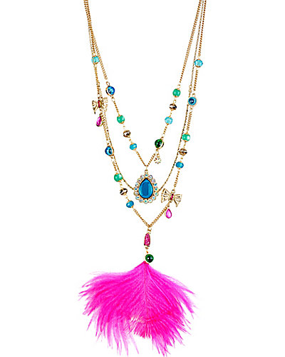 THE EYES HAVE IT FEATHER NECKLACE MULTI