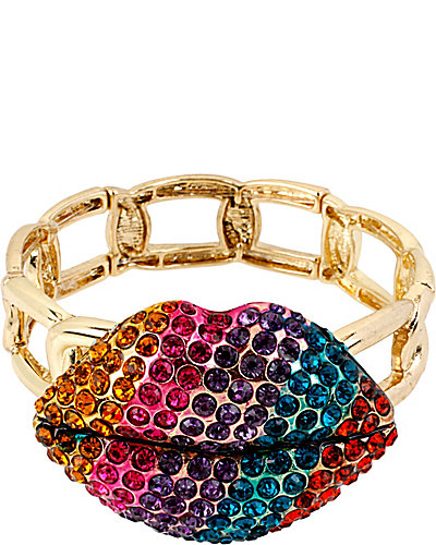 THE EYES HAVE IT LIPS STRETCH BRACELET MULTI