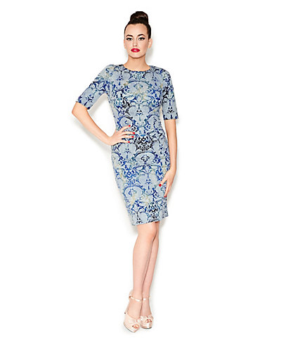 TIE DYE BROCADE DRESS BLUE