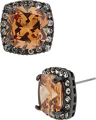 TOPAZ CZ HEMATITE SQUARE STUD EARRING BROWN