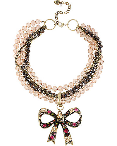 TORSADE ENHANCERS PINK MULTI BOW NECKLACE PINK
