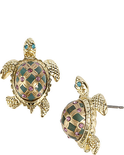TURTLE STUD EARRING GREEN