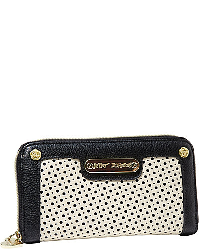 TUXEDO JUNCTION ZIP AROUND WALLET BLACK WHITE
