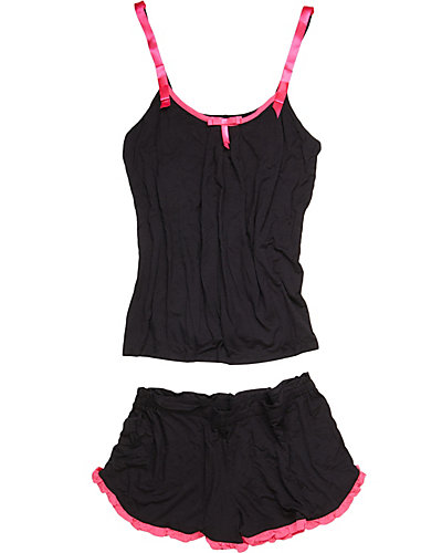 TWO TONE LUCIOUS LITE CAMI TAP SET BLACK