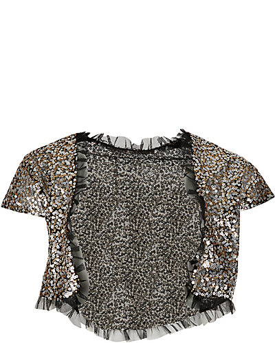 TWO TONE SEQUIN SHRUG SILVER