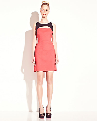 TWO TONE TANK DRESS CORAL MULTI