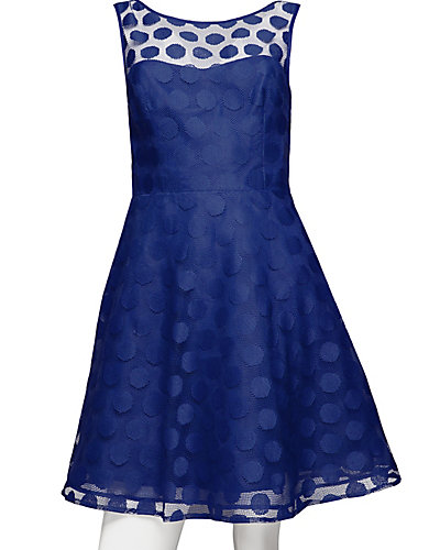 V-BACK DOTTED DRESS NAVY