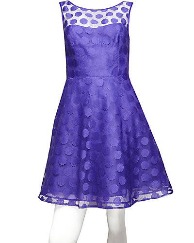 V-BACK DOTTED DRESS PURPLE