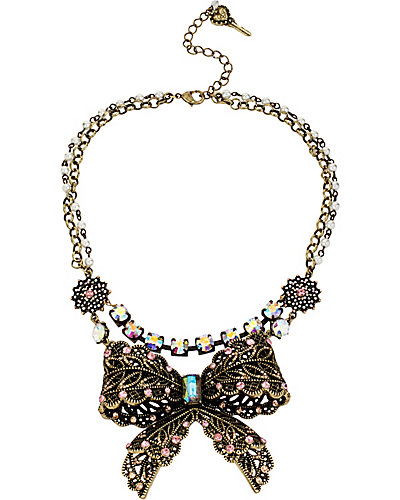 VINTAGE BOW 2 ROW NECKLACE PINK