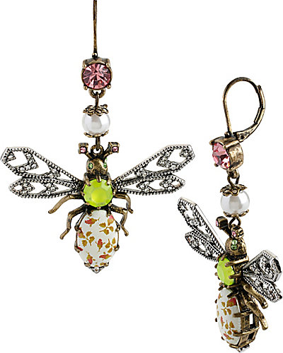 VINTAGE CRITTERS FLORAL BEE DROP EARRING MULTI