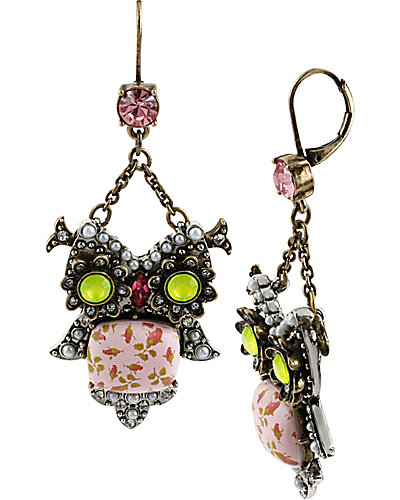 VINTAGE CRITTERS FLORAL OWL DROP EARRING MULTI
