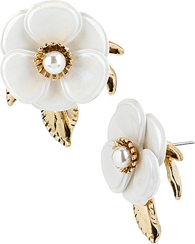 VINTAGE FLOWER BUTTON EARRING WHITE