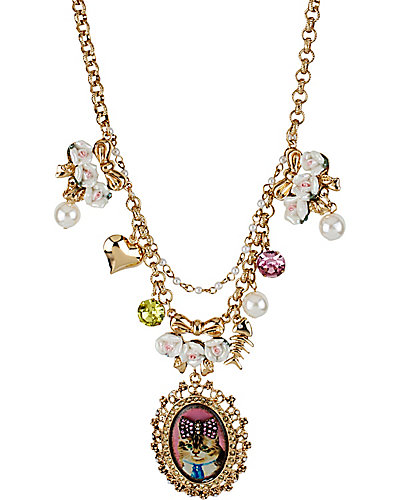 VINTAGE KITTY PINK CAMEO NECKLACE PINK MULTI