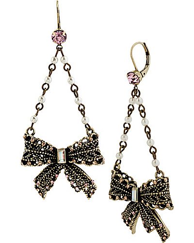 VINTAGE PEARL LACE BOW DROP EARRING PINK