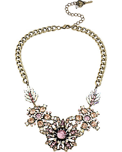 VINTAGE PINK FLOWER FRONTAL NECKLACE PINK