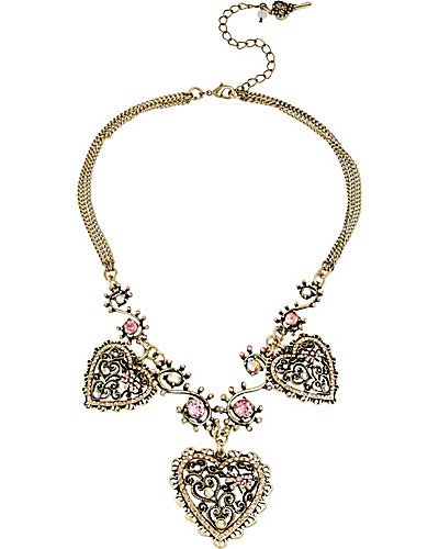 VINTAGE PINK HEART FRONTAL NECKLACE PINK