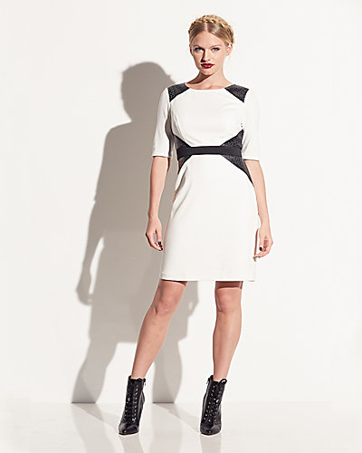 WAISTED PANEL ELBOW SLEEVE DRESS CREAM