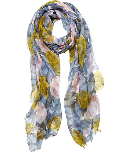 WICKED ROSE GAUZE SCARF BLUE
