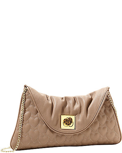 WILL YOU BE MINE CLUTCH TAN