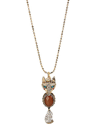 WOODLAND FOX LONG NECKLACE CRYSTAL