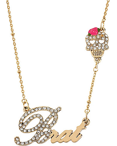 WORD NECKLACE BRAT WITH SKULL GOLD