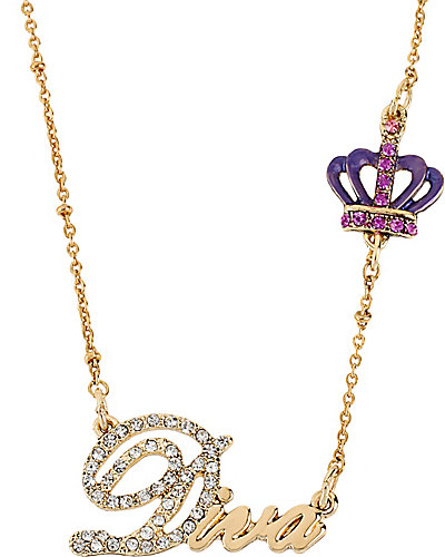 WORD NECKLACE DIVA WITH CROWN GOLD