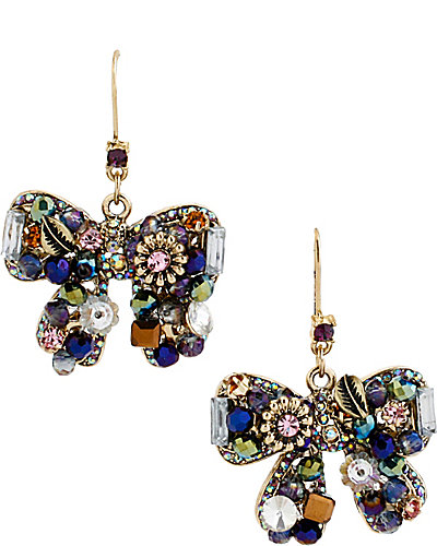 WOVEN CLUSTERS BOW DROP EARRING PURPLE