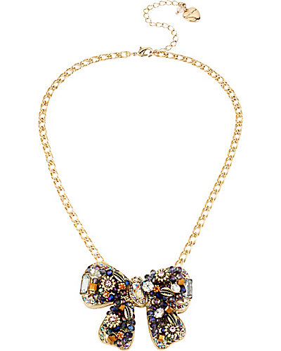 WOVEN CLUSTERS BOW FRONTAL NECKLACE PURPLE