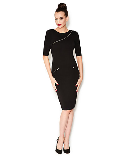ZIP DETAIL MIDI LENGTH DRESS BLACK