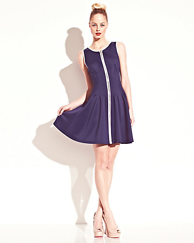ZIP FRONT TANK DRESS NAVY