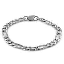 "Sterling_Silver_Figaro_Bracelet,_8_3/4"""
