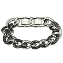 Stainless_Steel_&_Black_Ceramic_Link_Bracelet,_7.5""