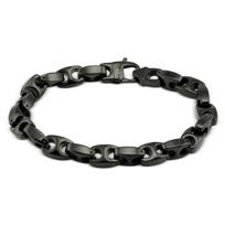 "Black_Tungsten_Link_Bracelet_With_Steel_Clasp,_10"""