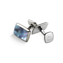 M-Clip_Gray/Blue_Mother_of_Pearl_Tapered_Rectangle_Cufflink