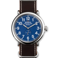 Shinola_Runwell_47mm_Men's_Strap_Watch,_Blue_Dial_with_Brown_Strap