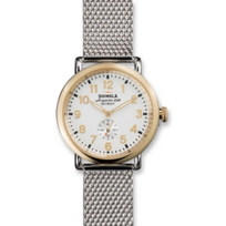 Shinola_Runwell_41mm_Men's_Bracelet_Watch,_White_Dial_and_Two_Tone_Case