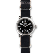 Shinola_Runwell_28mm_Women's_Strap_Watch,_Black_Dial_with_Black_Slip-Through_Military_Strap