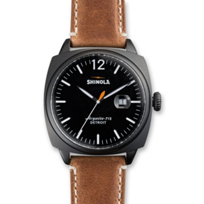 Shinola_Brakeman_46mm_Men's_Strap_Watch,_Black_Dial_and_Case_with_Brown_Strap