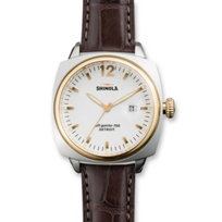 Shinola_Brakeman_40mm_Men's_Strap_Watch,_White_Dial_with_Two_Tone_Case