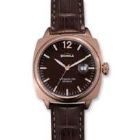 Shinola_Brakeman_40mm_Men's_Strap_Watch,_Black_Dial_with_Rose_Tone_Case