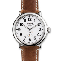 Shinola_Runwell_47mm_Men's_Strap_Watch,_Silver_Tone_Case_with_White_Dial_and_Brown_Strap