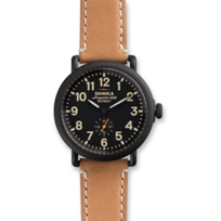 Shinola_Runwell_41mm_Men's_Strap_Watch,_Satin_Black_Case_with_Black_Dial_and_Tan_Strap