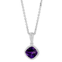 14K_White_Gold_Cushion_Checkerboard_Amethyst_Pendant_With_Milgrain_Bezel,_6mm