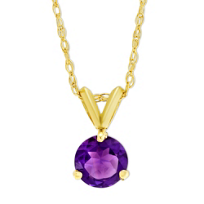 14K_Yellow_Gold_Round_Faceted_Amethyst_Pendant,_6mm